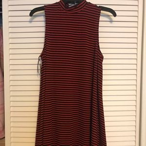 Red and black stripped skater dress